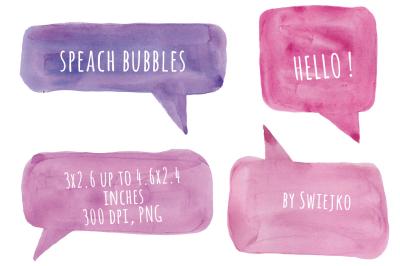 Watercolor Clip Art, Speech Bubble, Speach Clip Art