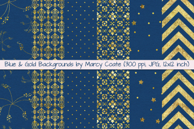 Blue & Gold Digital Papers