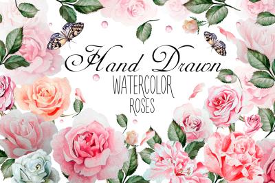 Hand drawn watercolor rose 2