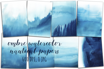 Ombre Digital Watercolor Background, Watercolor Paper, Marine, Nautical