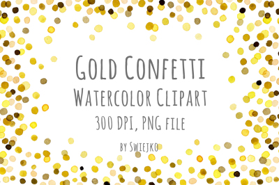 Watercolor Clipart, Digital Confetti, Gold Frame, New Year, Christmas