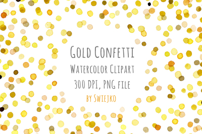 Watercolor Clipart, Digital Confetti, Frame, New Year, Christmas