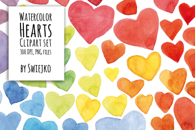 Digital Clipart ,Watercolor Hearts, Hand Painted Clip Art