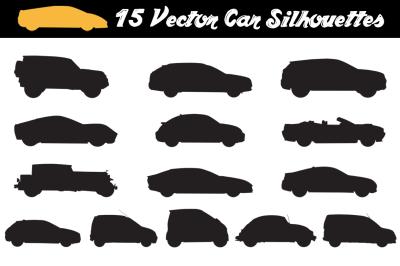 15 Car Silhouettes - Vector