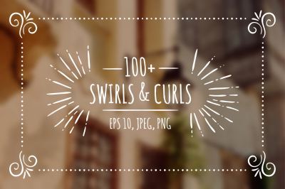100+ hand drawn swirls & curls