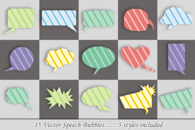 15 Speech Bubbles/ 5 Styles (vector)