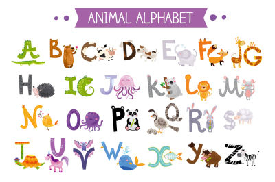 Cute kids animal alphabet