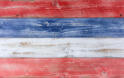 USA National Colors on Rustic Wood