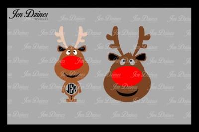Reindeer Monogram Frame SVG DXF EPS PNG