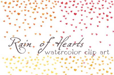 Digital Clipart ,Watercolor Hearts, Rainf of Hearts, Confetti