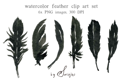 Watercolor Clipart, Halloween, Feather Clipart, Silhouette