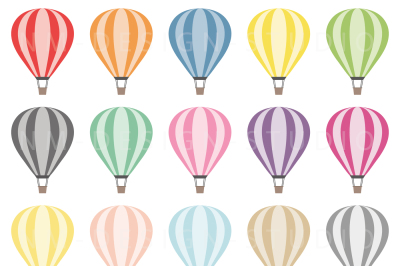 Hot Air Balloons Clipart - Vector Graphics