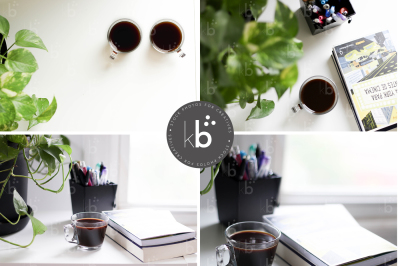 Books & Coffee - 4 Stock Photos Bundle