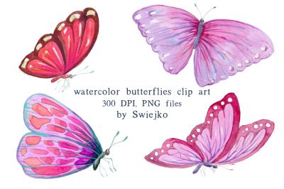 Digital Clipart, Watercolor Butterflies, Pink