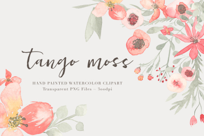 Watercolor Floral Clipart Tango Moss