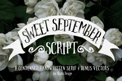 Sweet September Script + Bonus vectors