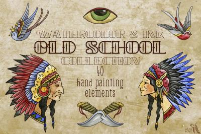 Old School Watercolor & Ink Set