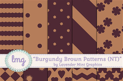 Brown and Burgundy Digital Papers