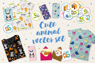 Cute kids set with animals