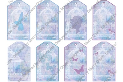 Printable Tags set of 8 Cottage Chic Vintage Collage