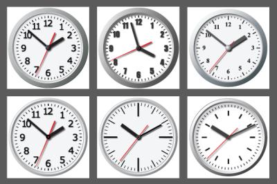 Wall mounted digital clock. Vector.