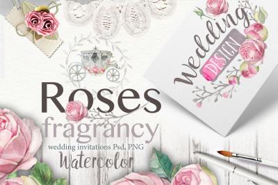Roses watercolor 40PNG+22 psd