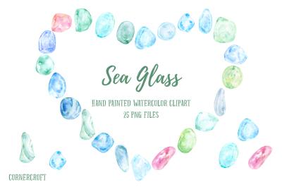 Watercolor Clip Art Sea Glass
