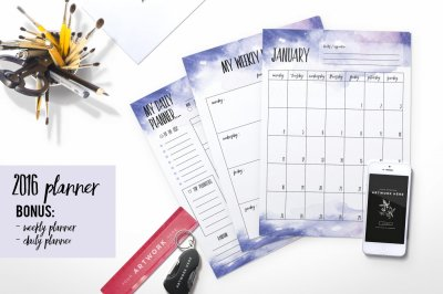 2016 planner (watercolor background )