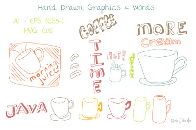 Coffee Graphics Words EPS AI PNG