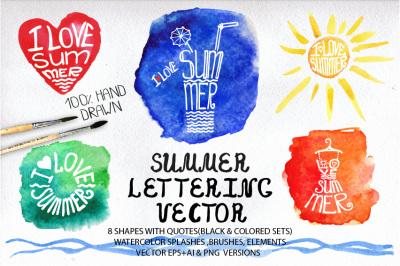 Summer lettering big set