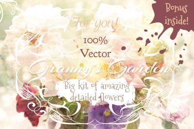 Big set of vector flowers