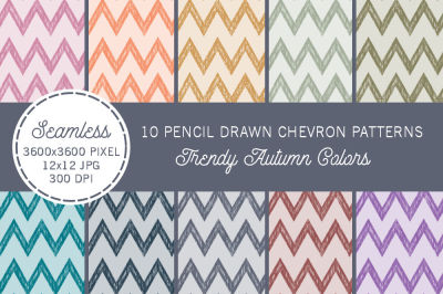 Pencil Drawn Chevrons Autumn Colors