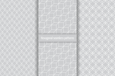 Hexagonal seamless patterns set