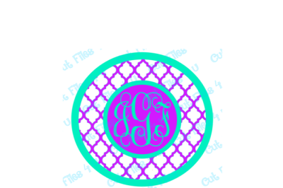 Quatrefoil Circle Monogram: PNG, SVG, and Studio 3 cut files included for vinyl, paper, etc.