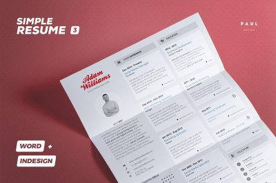 Simple Resume/Cv Volume 3 - Indesign + Word Template