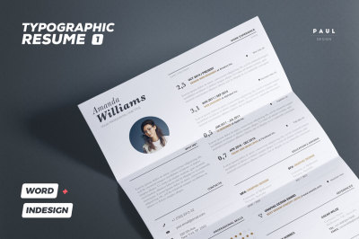 Typographic Resume/Cv Volume 1 - Indesign + Word Template