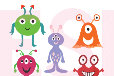 Space Aliens, Design Set. SVG, DXF, PNG & EPS - Cutting Files.