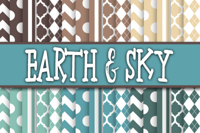 Earth and Sky Blue and Brown Digital Papers