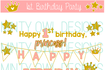 Princess Star Birthday Party SVG Cut File Set