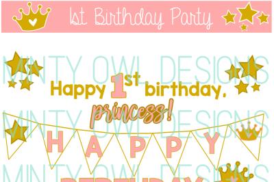Princess Star Birthday Party SVG Cut File Set