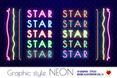 NEON Retro Graphic Styles (AI)