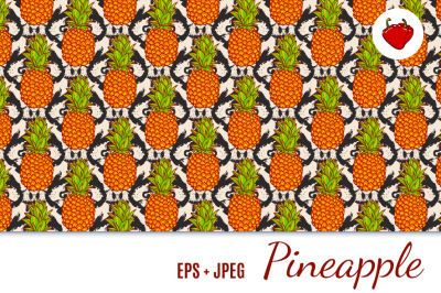Tropical Pineapples Seamless Pattern