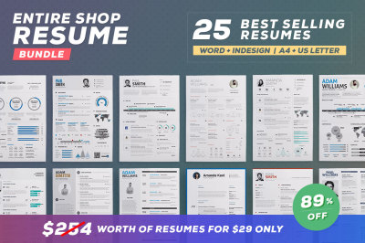 Entire Shop - 25 in 1 Resume Bundle
