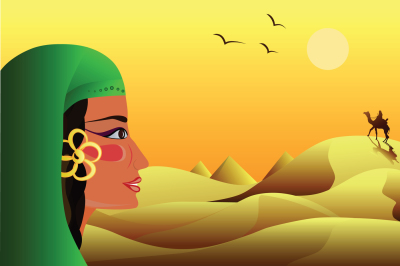a young girl looks at a rider on a camel in the desert, vector