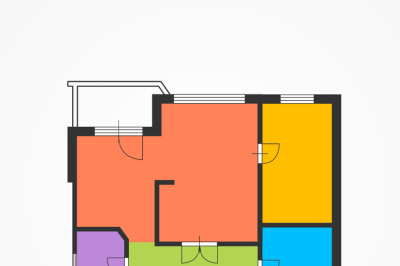 Architect Colorful Floor Plan. Vector