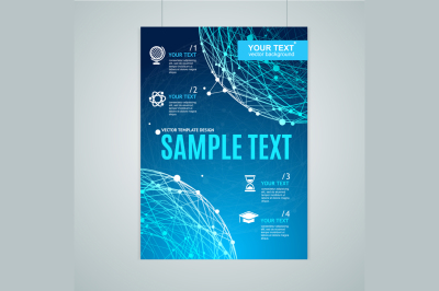 Card, Flyer or Placard with Abstract Geometry Sphere. Vector