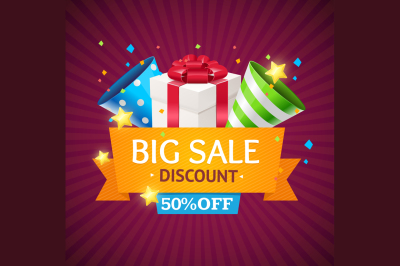 Sale Card with Gift Box. Vector