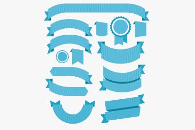 Ribbons Flat Design Set. Vector