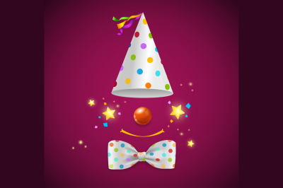 Clown Symbol Background for Card. Vector