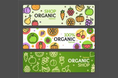 Eco Shop Banner Horizontal Set. Vector